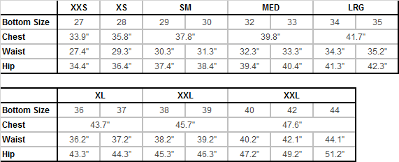 Quiksilver Men's Sizing Chart